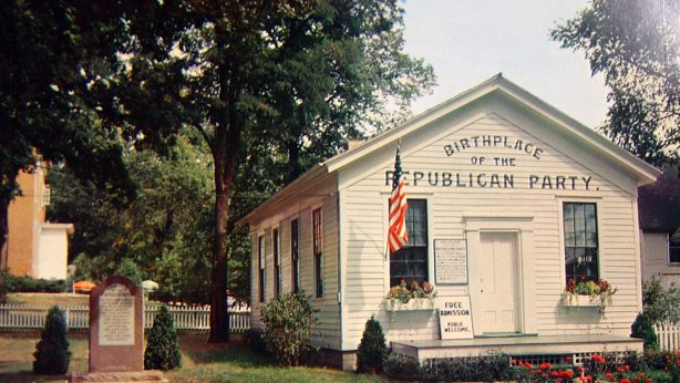 The Little White Schoolhouse known as the birthplace of the Republican Party