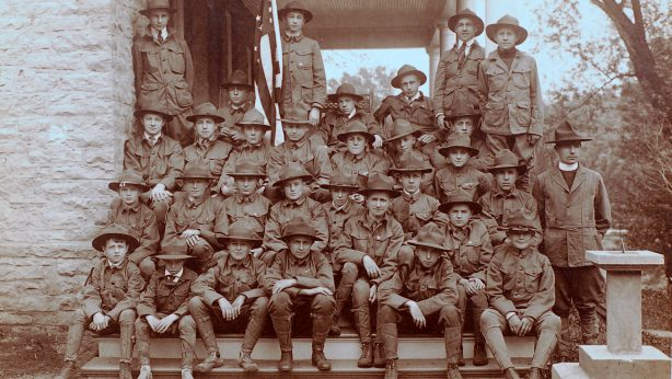 First Ripon Boys Scout Troop founded in 1913 - this troop photo dated 1916-1917 - scouts began a drum and bugle corp, marched and played in parades and also escorted World War I draftees to the train depot while playing patriotic music for their departures.