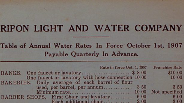 The Ripon Light & Water Company was located on Fond du Lac Street in the early 1900s, bringing gas, water and electricity to business buildings and residential homes.