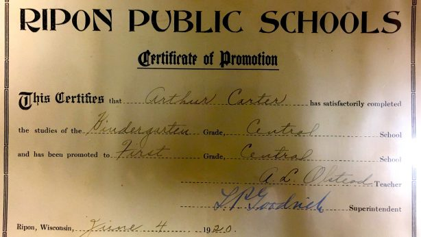 Ripon Central Grade School Diploma for Arthur Carter, family members lived on Watson Street.