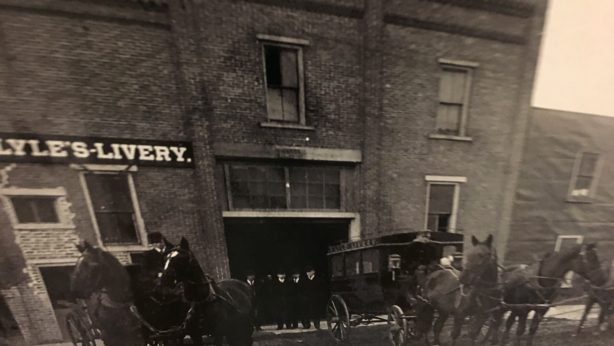 Lyle's Livery, one of many livery stables and services downtown Ripon in the 1800s. Travelers and local residents could board their own horse or even rent a buggy or horse for transportation.