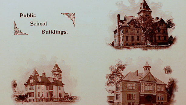 Ripon Public Schools Circa 1889. Top Right Ripon High School, Bottom Left Ceresco High School, Bottom Right North Primary School - none of these buildings stands today.